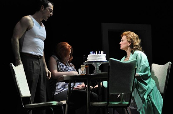 """(From left) David Adam Moore digs deep to become Stanley Kowalski, Julia Ebner is Stella Kowalksi, and Kelly Cae Hogan plays the memorable Blanche Dubois in a new stripped-down opera version of """"Streetcar Named Desire."""" - DAVID A. BELOFF"""