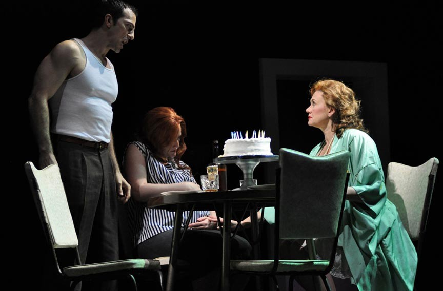"(From left) David Adam Moore digs deep to become Stanley Kowalski, Julia Ebner is Stella Kowalksi, and Kelly Cae Hogan plays the memorable Blanche Dubois in a new stripped-down opera version of ""Streetcar Named Desire."" - DAVID A. BELOFF"