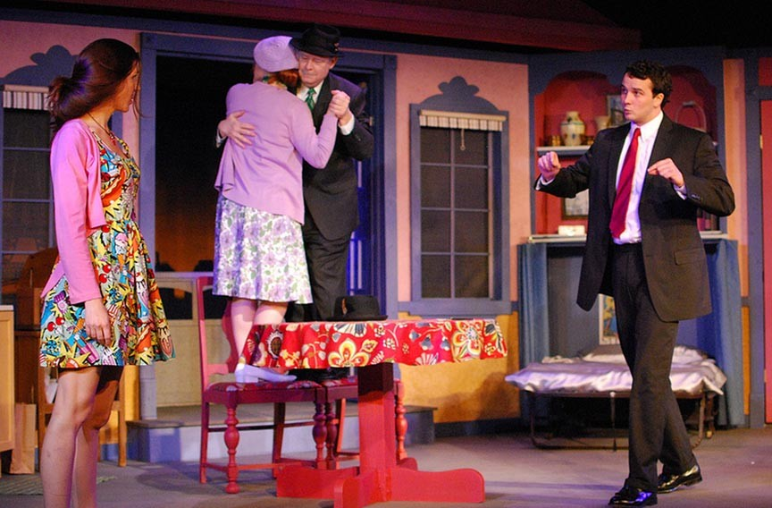 """(From left) E. Louise Mason, Payton Drake, Thomas Eichler and Alex Ireys provide some laughs, but """"13th of Paris"""" quickly veers into melodrama."""