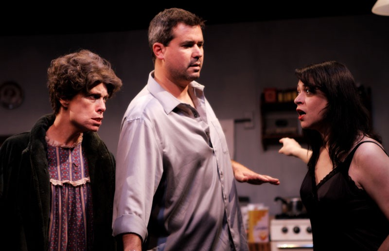 "(From left) Mary Best Bova stars as Mag, Tony Foley as Pato, and Jill Bari Steinberg as Maureen, in the theatrical adaptation of Irish playwright Martin McDonagh's 1996 black comedy, ""The Beauty Queen of Leenane."" - VINNIE GONZALEZ"