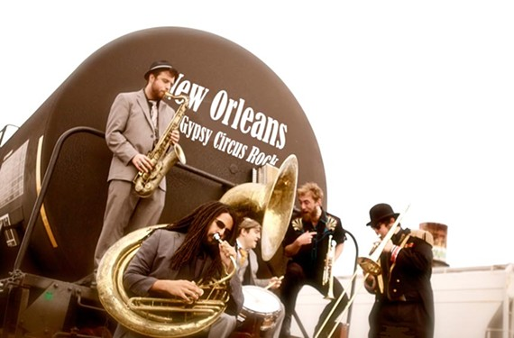 Frontman Noah Adams (second from right) leads the prolific New Orleans' brass monkeys Dirty Bourbon River Show through a mixture of street jazz and gypsy punk.
