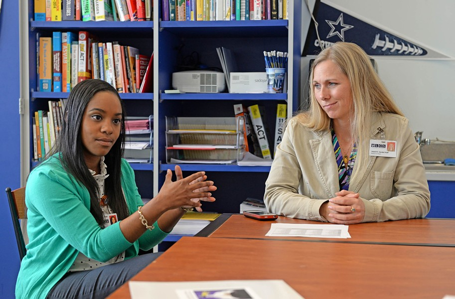 Future Center directors Leidra Hickson and Heidi Vande Hoef discuss the barriers that students face in getting to college, particularly those living below the poverty line. Lack of academic preparation, self-confidence and hope can pose greater challenges than finances do. - SCOTT ELMQUIST
