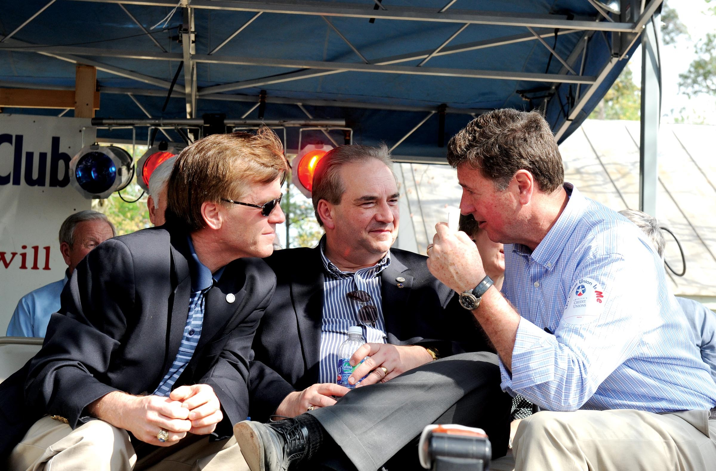 Gov. Bob McDonnell and George Allen, a former governor and U.S. senator, share a moment at the Shad Planking. - SCOTT ELMQUIST