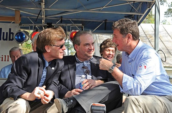 Gov. Bob McDonnell, Lt. Gov. Bill Bolling and U.S. Senate candidate George Allen chat on stage at the 2011 Shad Planking in Wakefield. - SCOTT ELMQUIST