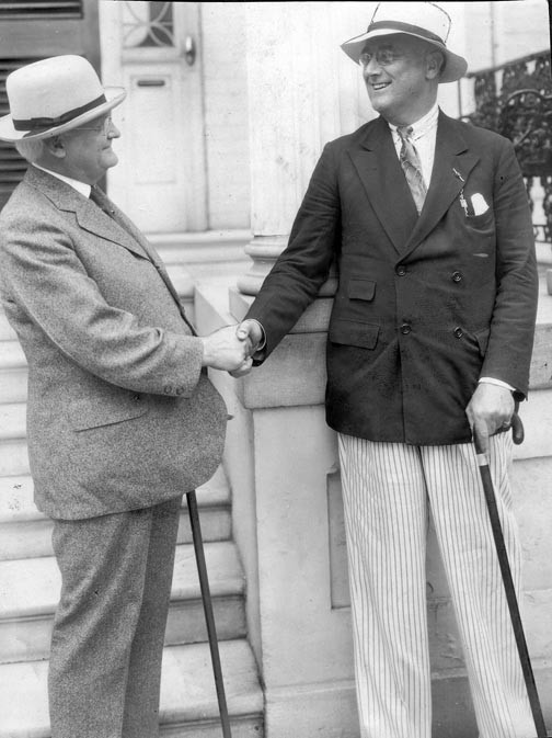Gov. John Garland Pollard, at left, welcomes Gov. Franklin D. Roosevelt of New York to the Executive Mansion, probably during the April 1932 National Governor's Conference, which was held in Richmond. - VALENTINE RICHMOND HISTORY CENTER