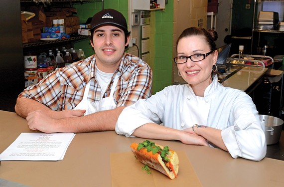 Greg Comstock and Lauren Jurk opened the Naked Onion two weeks ago and have quickly developed a following for their version of the banh mi sandwich. - SCOTT ELMQUIST