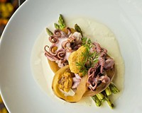 Grilled baby octopus with onions and asparagus is a terrific dish at The Magpie, but isn't always on the gastropub's changing menu.