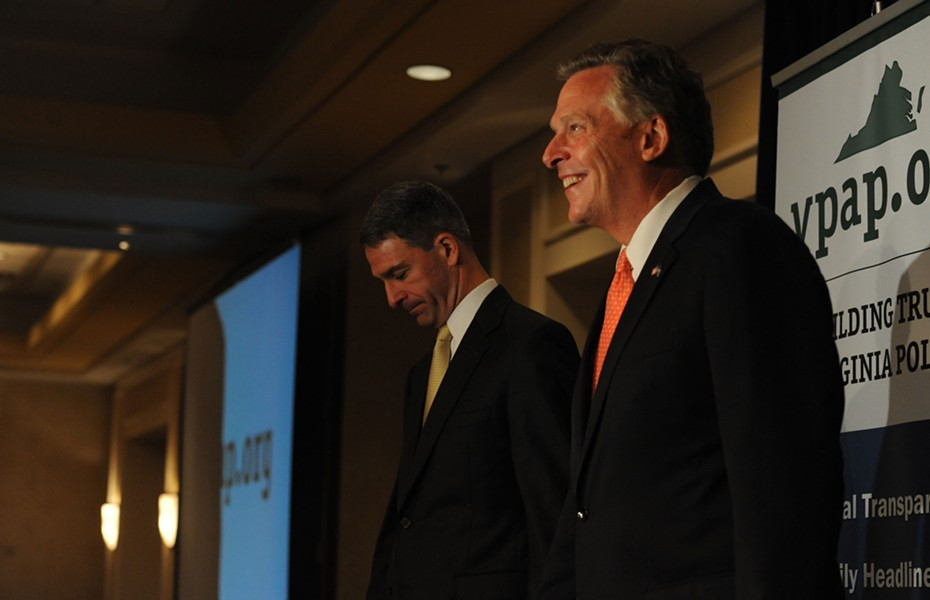 Gubernatorial candidates Ken Cuccinelli and Terry McAuliffe discuss transparency at a luncheon last week sponsored by the Virginia Public Access Project. - SCOTT ELMQUIST