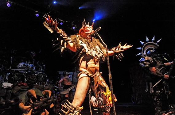 Gwar's David Brockie reigns in full costume as Oderus Urungus during a March 16, 2012, show at the National. Brockie died Sunday.