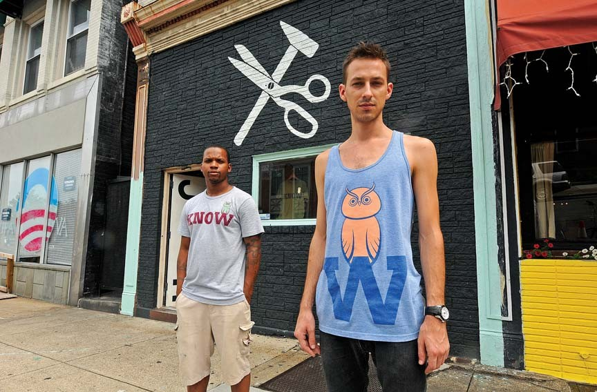 Haberdash owner Britt Sebastian, right, and his office manager, Danté Edwards, outside their recently renamed clothing store on East Main Street. - SCOTT ELMQUIST