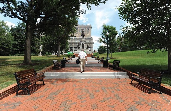 Handsome new granite steps and pervious brick terraces in Capitol Square. - SCOTT ELMQUIST