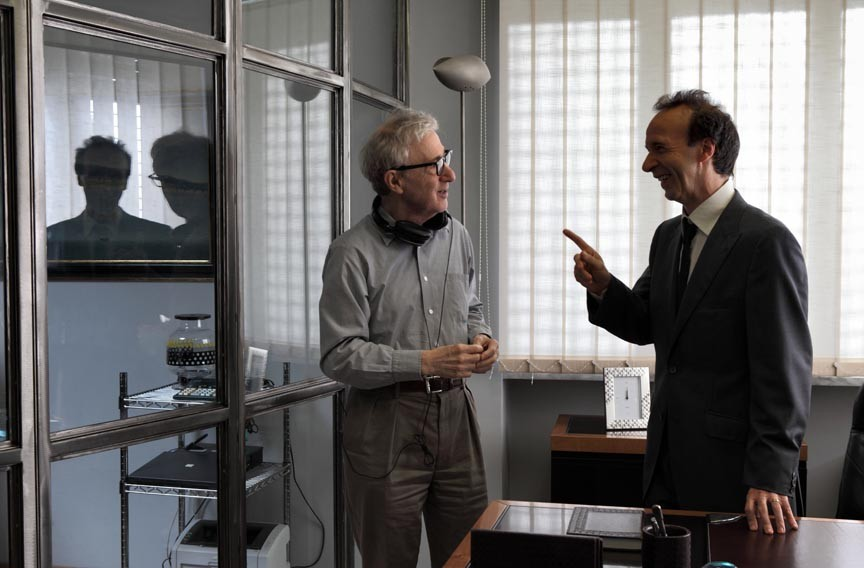 "Hardly working? Director Woody Allen speaks with actor Roberto Benigni on the set of ""To Rome With Love."" - PHILIPPE ANTONELLO"