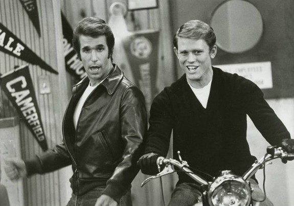 """Henry Winkler as the Fonz and Ron Howard as Richie Cunningham in """"Happy Days."""" We wanted the publicity photo of the Fonz jumping a shark on water skis, but alas . . . no go."""