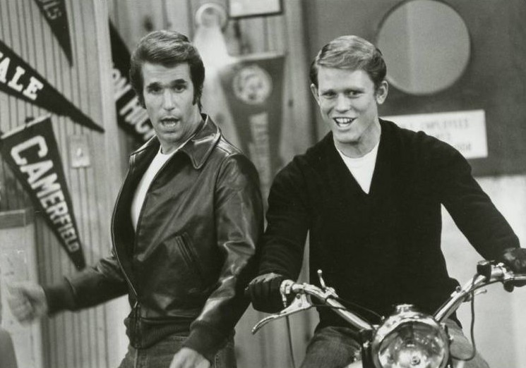 "Henry Winkler as the Fonz and Ron Howard as Richie Cunningham in ""Happy Days."" We wanted the publicity photo of the Fonz jumping a shark on water skis, but alas . . . no go."