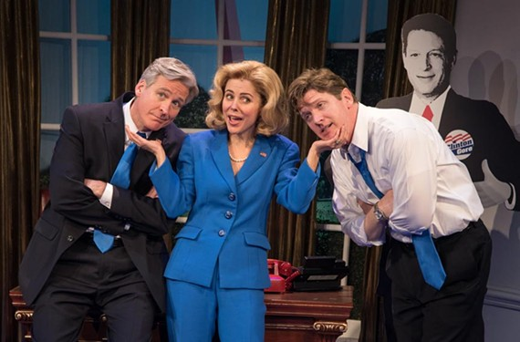 Hillary Clinton, played by Kerry Butler, is surrounded by her two loves, William Jefferson Clinton (Tom Galantich) and the younger, sax-playing sex devil, Billy Clinton, played by Mechanicsville native Duke Lafoon.