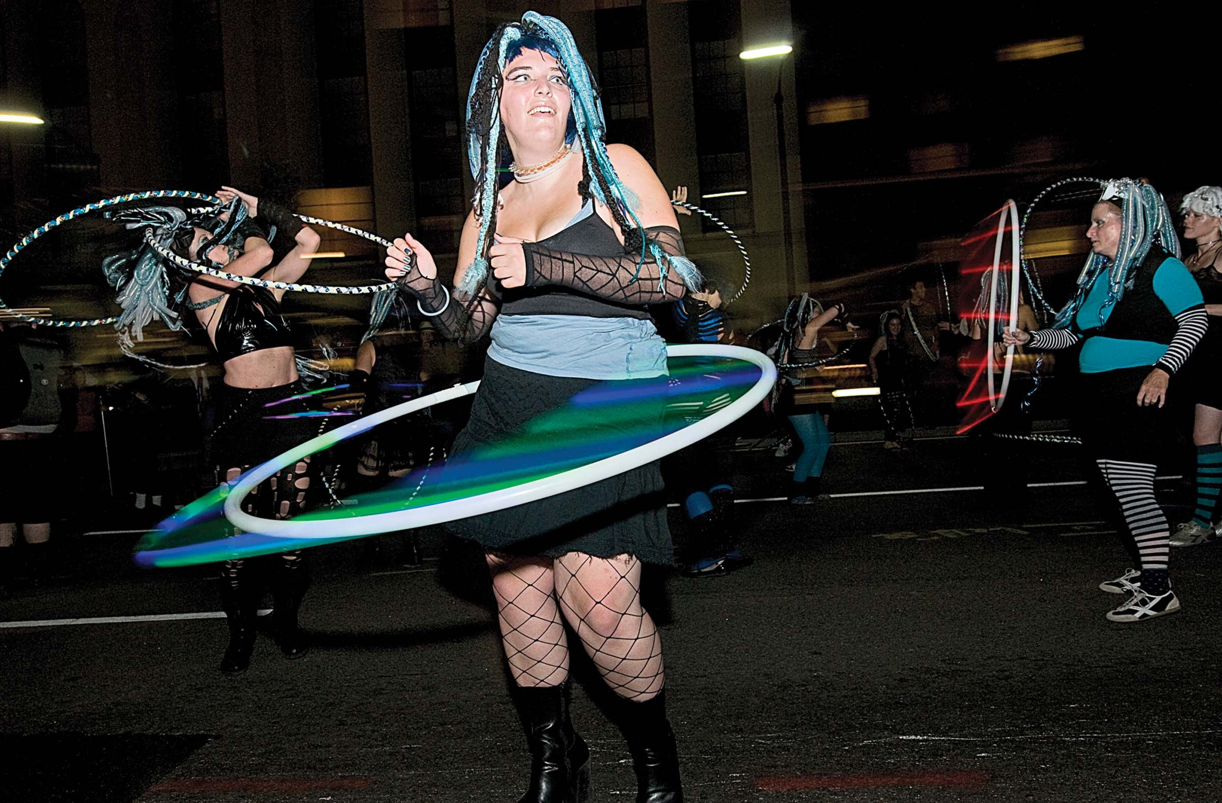 Hula hoopers take part in the annual parade. - ASH DANIEL