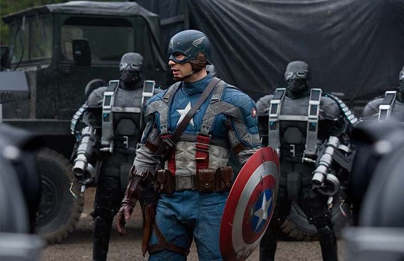 """""""I'm looking for Kirby… Sgt. Jack Kirby."""" Chris Evans plays the patriotic title role in the new """"Captain America: The First Avenger."""" - JAY MAIDMENT"""