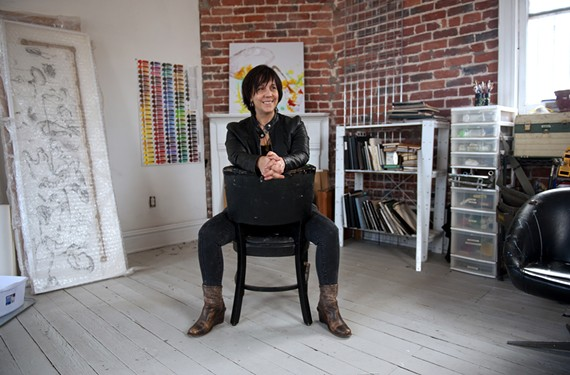 """In her Lovebomb studio, longtime local artist Heide Trapanier reflects on her new projects. """"We've all got a vision, of like, being weirdoes,"""" she says, """"You know? Of not going home and cutting on the TV. Of going home and getting changed and making something instead."""""""