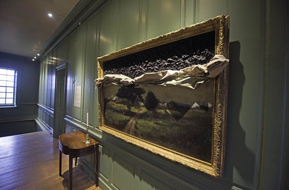 """In """"Memory Fails"""" by Titua Kaphar, in Wilton's upstairs hallway, an oil canvas gives way to a muck of tar. - SCOTT ELMQUIST"""