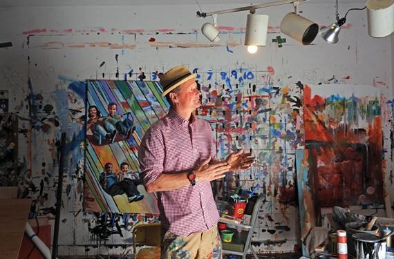 In the weeks leading up to his monthlong exhibit, painter and muralist Ed Trask prepares in his Shockoe Bottom studio. - SCOTT ELMQUIST
