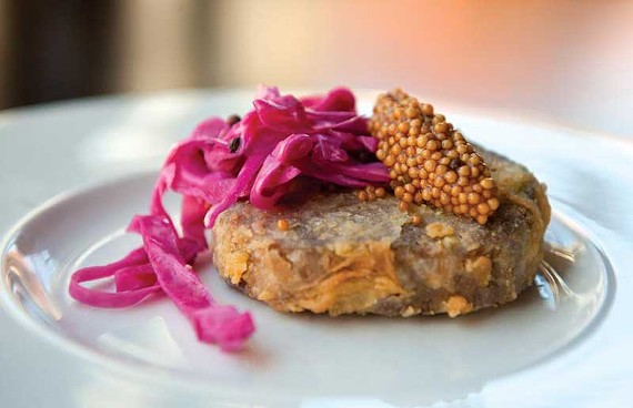 Infatuation begins with the crispy pig-head terrine with pickled mustard and red cabbage at the Roosevelt, where chef Lee Gregory goes free range at a good price. - SCOTT ELMQUIST