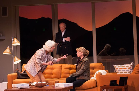 """Irene Ziegler (Polly), Joe Inscoe (Lyman) and Sandi Carroll (Brooke Wyeth) turn in excellent performances in director Chase Kniffen's thought-provoking take on the family drama, """"Other Desert Cities,"""" playing at Virginia Repertory Theatre."""