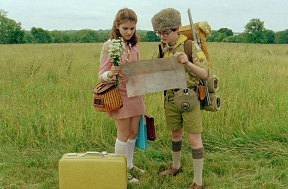 """""""It's a map of my heart."""" Kara Hayward and Jared Gilman run away together in Wes Anderson's excellent """"Moonrise Kingdom."""" - FOCUS FEATURES"""