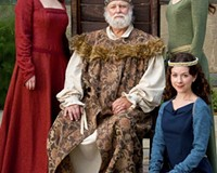 """It's good to be the King: Kerry McGee, Alan Sader, Sarah Jamillah Johnson and Jai Goodman (seated) co-star in a splendid production of """"King Lear."""""""
