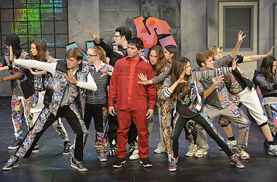 """James Grice, in red, leads the cast of the gritty new hip-hop musical, """"Remnants,"""" which runs this weekend at the University of Richmond's Modlin Center for the Arts."""