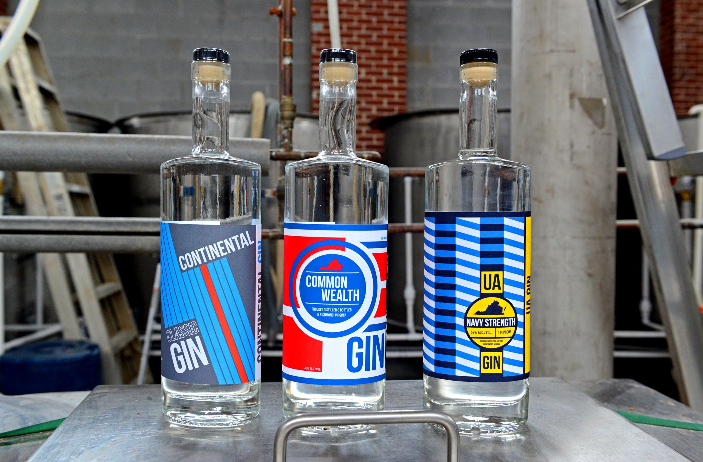 James River Distillery's three kinds of gin include Continental, a dry London-style variety; Commonwealth, infused with hops and botanicals; and Navy Strength, an overproofed spirit that clocks in at 57 percent alcohol but not yet available in Virginia. - SCOTT ELMQUIST