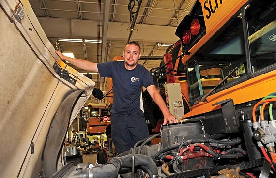 Jason Sharpe, 28, could be America's next top school bus mechanic.