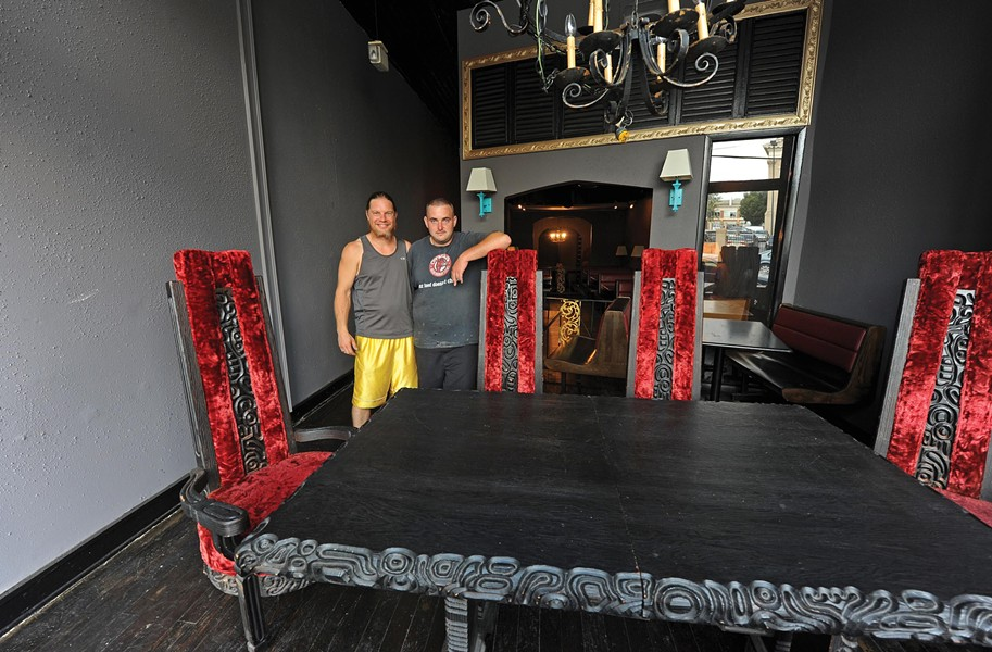 Jason Williams and Chris Mullenix have big plans for the Lair, their local food collective with pizza, Mexican, sushi and sweets under one roof downtown. They've brought in furnishings from old churches, restaurants and houses. - SCOTT ELMQUIST