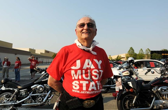 Jay Ipson joins supporters at Willow Lawn for a motorcycle ride in late June. - SCOTT ELMQUIST