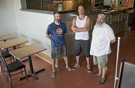 Jeff Killen, center, created a retro-modern interior for Galley, a new restaurant co-owned by chefs Chris DiLauro, left, and Manny Mendez, about to open in Stratford Hills. - ASH DANIEL