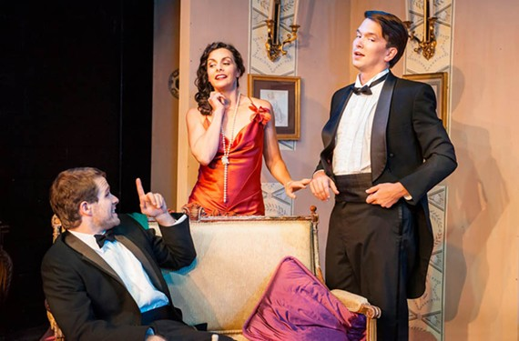 "Jennie Meharg as Gilda, Jeffrey Cole as Otto and Matt Polson as Leo in Richmond Triangle Players' production of Noel Coward's ""Design for Living"" which is playing through Oct. 18."