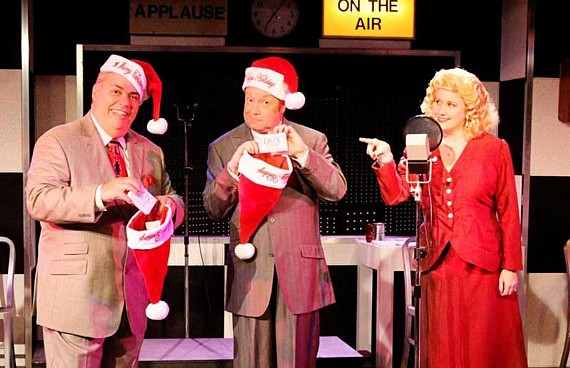 "John Maddox, Steve King and Georgia Rodgers Farmer co-star in ""It's a Wonderful Life: A Live Radio Play."" Swift Creek Mill's retake of the Frank Capra movie is one of several holiday-themed plays hitting stages this season. - ROBYN O'NEIL"