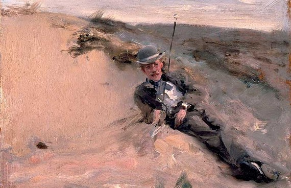 "John Singer Sargent's ""Portrait of Ralph Curtis on the Beach at Scheveningen"" is one of the stunning examples of Impressionism on display in Williamsburg."