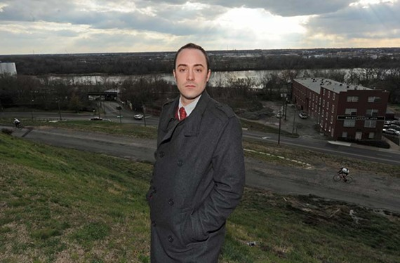 Jon Ondrak, president of the Church Hill Association, says a road proposal by regional planners may block the view of the James River from Libby Hill. - SCOTT ELMQUIST