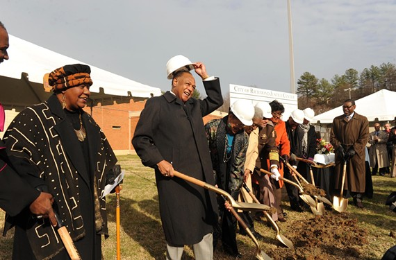 Jones breaks ground on one of his signature projects, the new city jail, in 2012. He says it's an example of his office's ability to move the city forward on major projects that otherwise would have stalled. - SCOTT ELMQUIST