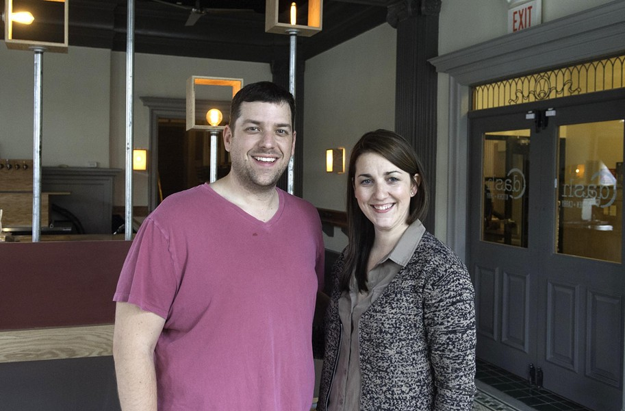 """Josh and Jessica Bufford are about to reveal the new interior at Dash Kitchen and Carry, a new """"semi-service"""" eatery on the Virginia Commonwealth University campus. - SCOTT ELMQUIST"""