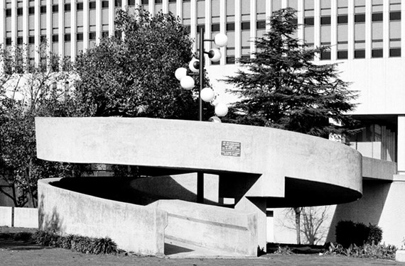 Kanawha Plaza, designed by Robert Zion of Zion & Breen, was completed in 1980 and meant to connect the business district with the James.