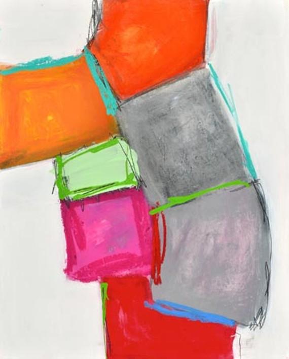 "Kathleen Markowitz painted ""The Crossing"" (2013, mixed media on panel)."