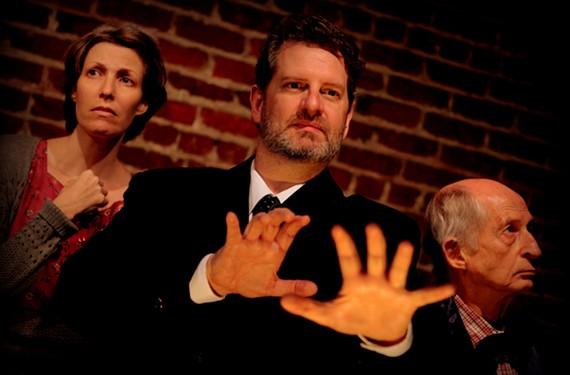 "Katie McCall, Joe Pabst and Ron Reid in Henley Street Theatre's ""Faith Healer."" - VINNIE GONZALEZ"