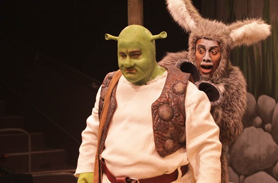 Kids and their parents will probably recognize these faces from their assorted video screens: Shrek and the Donkey — brought to life at the Children's Theatre of Virginia at Willow Lawn by actors Jason Marks and Ronnie Brown.