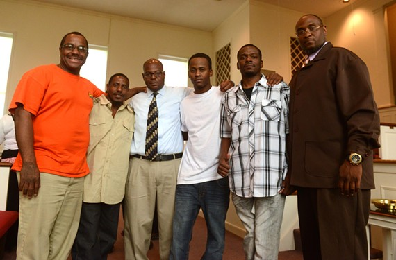 Kingdom Life Members old and new gather after the Sunday service at Establish Covenant Ministries International — Karl Green, Gilbert Howard, Tyrone Fleming, Chris Henry, Melvin Bolling and Darryl Cousins. - SCOTT ELMQUIST