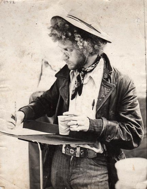 Known for his wild ginger hair, Richard Bland was a familiar figure around the Richmond arts scene in the early 70s, usually sketching as in this photo from 1972. - RICHARD BLAND