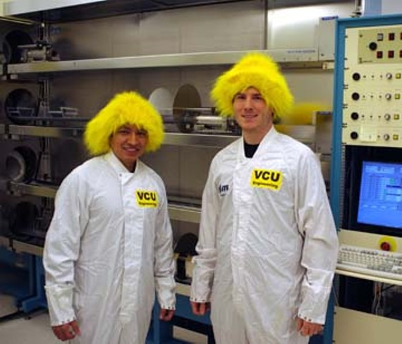 Lab spirit: Virginia Commonwealth University engineering students William Clavijo and Michael Vinsh show their colors. - PHOTO COURTESY VCU ENGINEERING SCHOOL