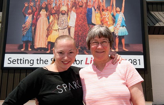 "Laine Satterfield, program director for SPARC's New Voices for the Theater, stands with Barbara Lindsay, New Voices' 2011 playwright in residence.  The program's new affiliation with the Firehouse Theater Project's Festival of New Plays is, according to Satterfield, ""a natural fit."" - SCOTT ELMQUIST"