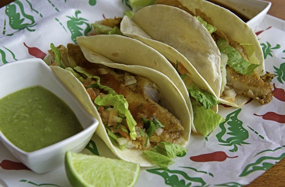 Lalo's Cocina Bar & Grill's fried tilapia tacos are filled with pico de gallo and chipotle sauce.