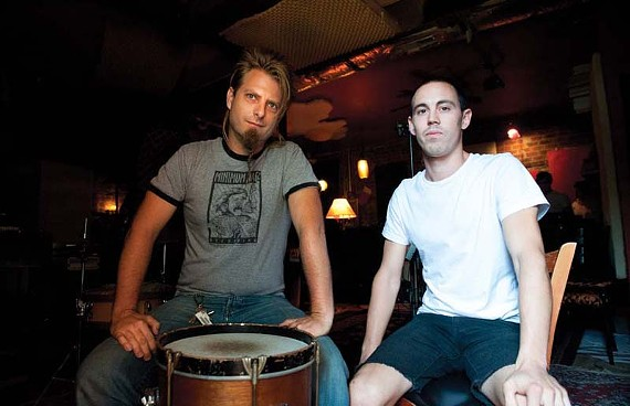 """Lance Kronzer of the No BS Brass Band sits with Black Girls lead singer Drew Gillihan. """"When we play together, it's a guaranteed good time,"""" Gillihan says of the groups' unique collaboration. - SCOTT ELMQUIST"""